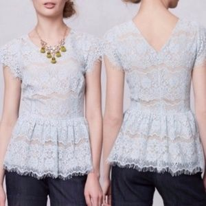 Anthropologie Maeve Katrine Lace Peplum Blouse Top